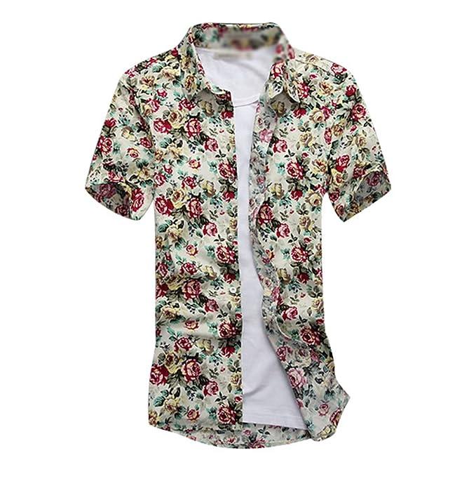 bccaf615c2 YuanDian Hombre Camisas Hawaianas Tallas Grandes Verano Playa Impresión Estampado  Flores Informal Manga Corta Tropical Aloha Botón Down Suaves Camisetas ...