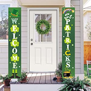 Dazonge St. Patrick's Day Decorations | Lucky St. Patty's Day Welcome Signs for Porch/Front Door/Home Decor | St. Patrick's Day Party Accessory