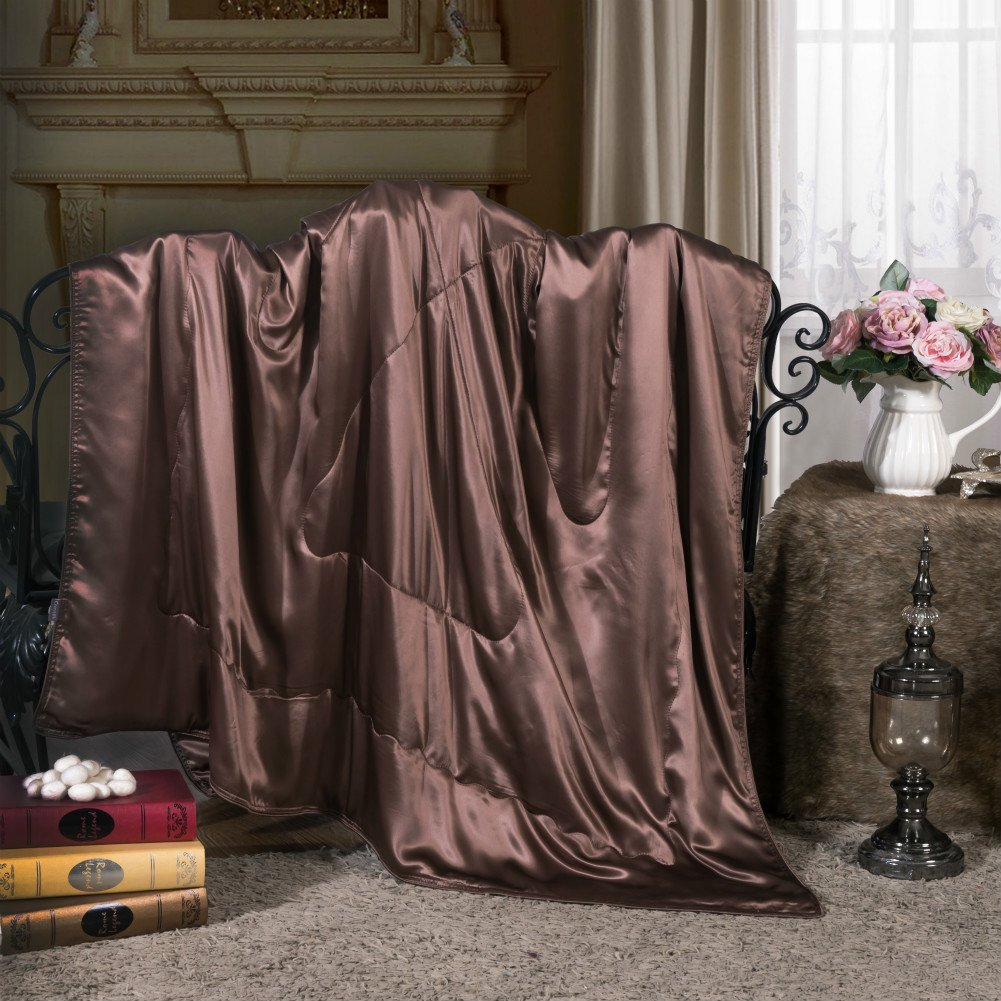 Cozysilk Silk Blanket / Throw, Luxury Pure Mulberry Silk Inside and Out Filling with 100% Top Grade Mulberry Silk, Sofa Throw / Couch Throw - Ultra Soft, Hypoallergenic, Breathable, 53x72 inch, Coffee