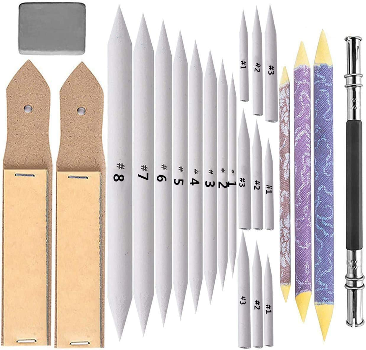 20 Pieces Blending Stumps and Tortillions Set with 2 Pcs Sandpaper Pencil Sharpener 1 Pencil Extension Tool and 1 Eraser for Student Sketch Drawing Accessories
