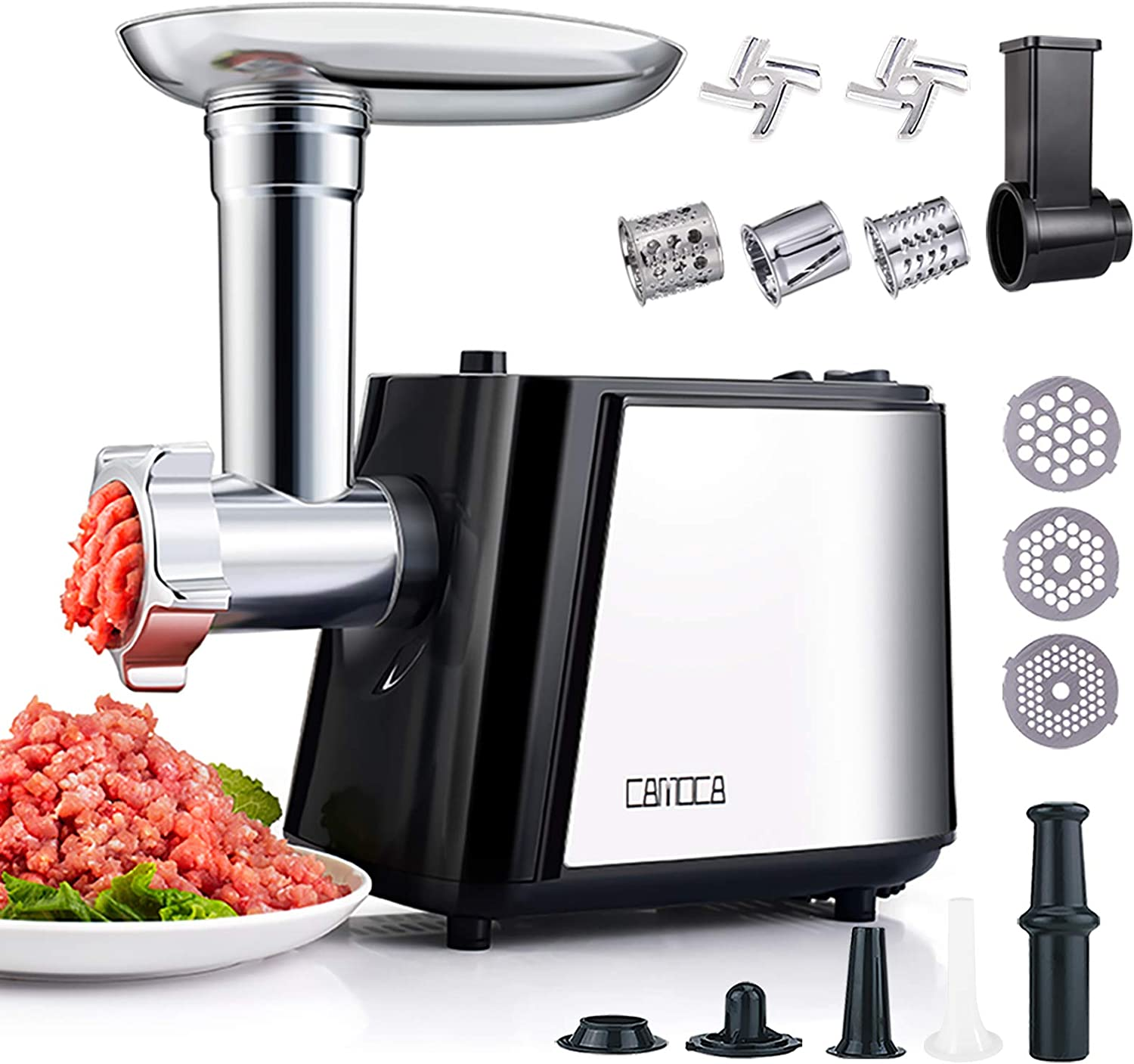 CAMOCA Meat Grinders for Home Use, Stainless Steel Meat Grinder Electric, [1600W Max], Food Grinder Sausage Maker with Slicer Shredder Attachment, 2 Blade and 3 Grinding Plates, Sausage & Kubbe kit.