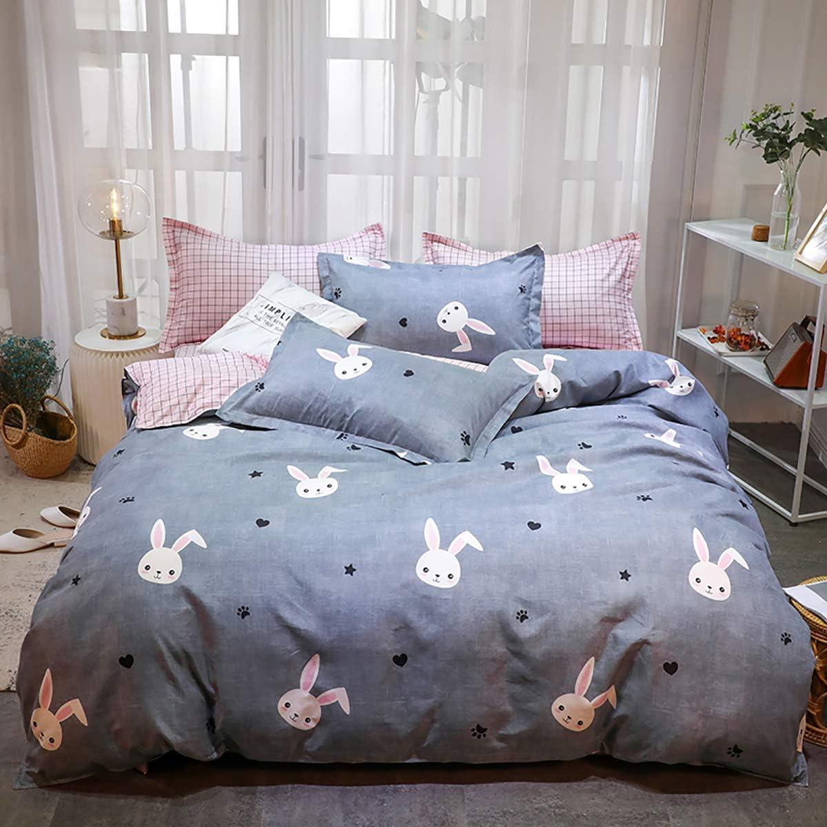 Omelas Kids Grey Bedding Rabbit Star Duvet Cover Twin Set Girls Pink Gingham Plaid Reversible Printed Bedding Soft Microfiber Quilt Comforter Cover,Zipper Closure,2 Pillow Shams (QQT,T)