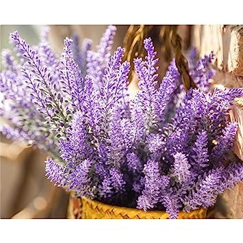 Amazon.com: Unilove Artificial Lavender Bouquet Fake Lavender ...