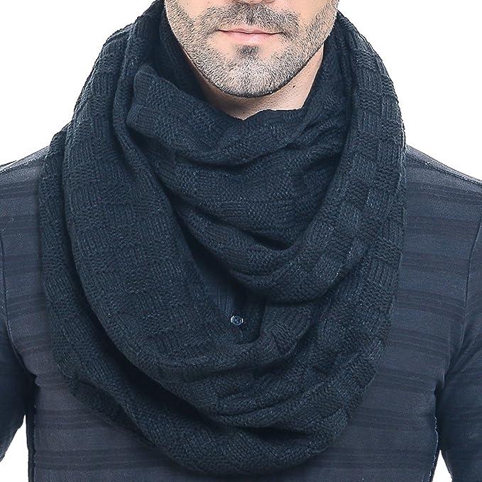 bf66081a7 Men Knit Scarf Warm Winter Infinity Scarves E5031b (Black) at Amazon ...