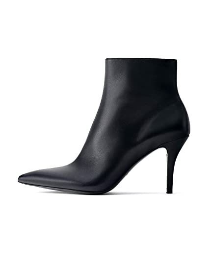 0c6dc6a536de8 Uterque Women's Nappa Leather high Heel Ankle Boots 4063/051 Black ...