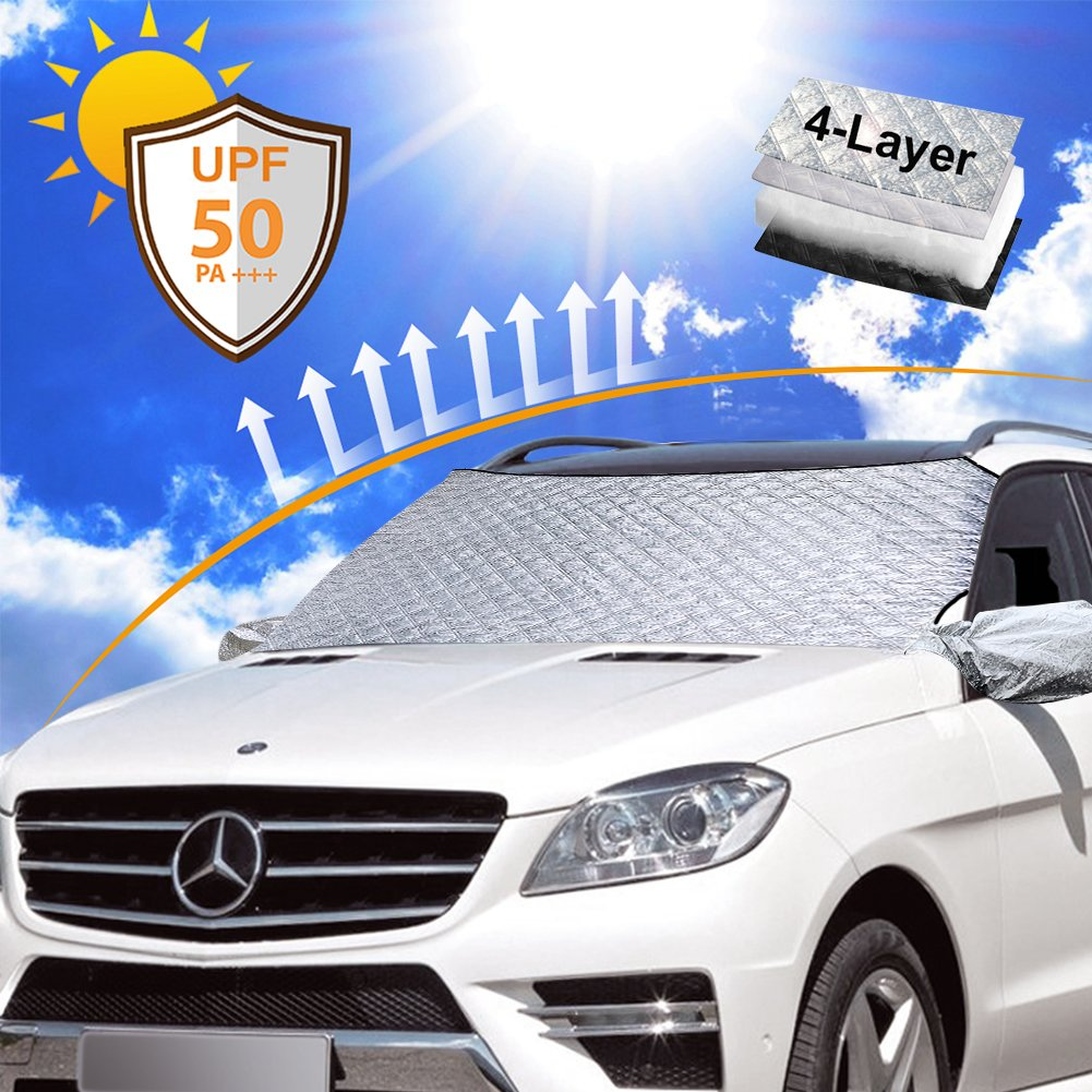 Amazon.com: Datitiger Car Windshield Sunshade - Sun Shade for Car Window  Front Windshield Silver Front and Black Back Keeps Vehicle Cooler with  Storage ...