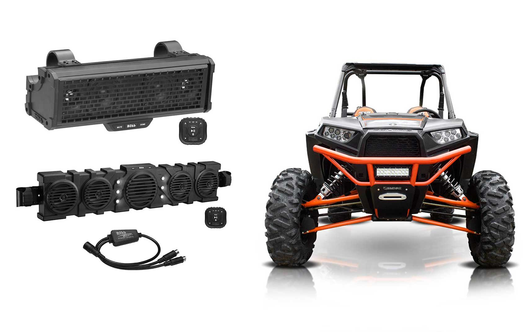 Boss BRRC14+BRRF46 Powered Sound Bars+Bluetooth Controllers+Lights RZR/ATV/UTV
