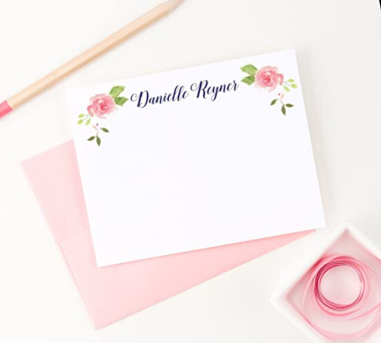 floral personalized stationery note cards personalized stationary for women set of 10 flat note - Personalized Flat Note Cards