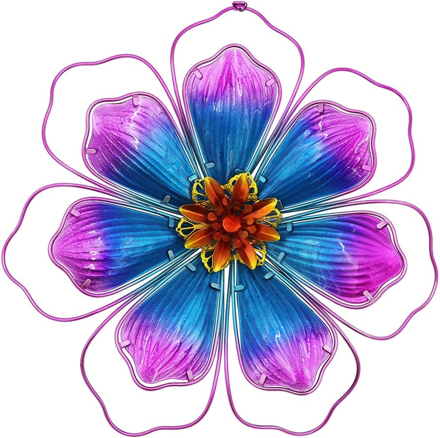 TENGZHEN Metal Glass Flower Wall Decor Metal Hot Pink Stained Glass Floral Wall Art Decor Hanging for Wall Sculptures Indoor Outdoor Home Bedroom