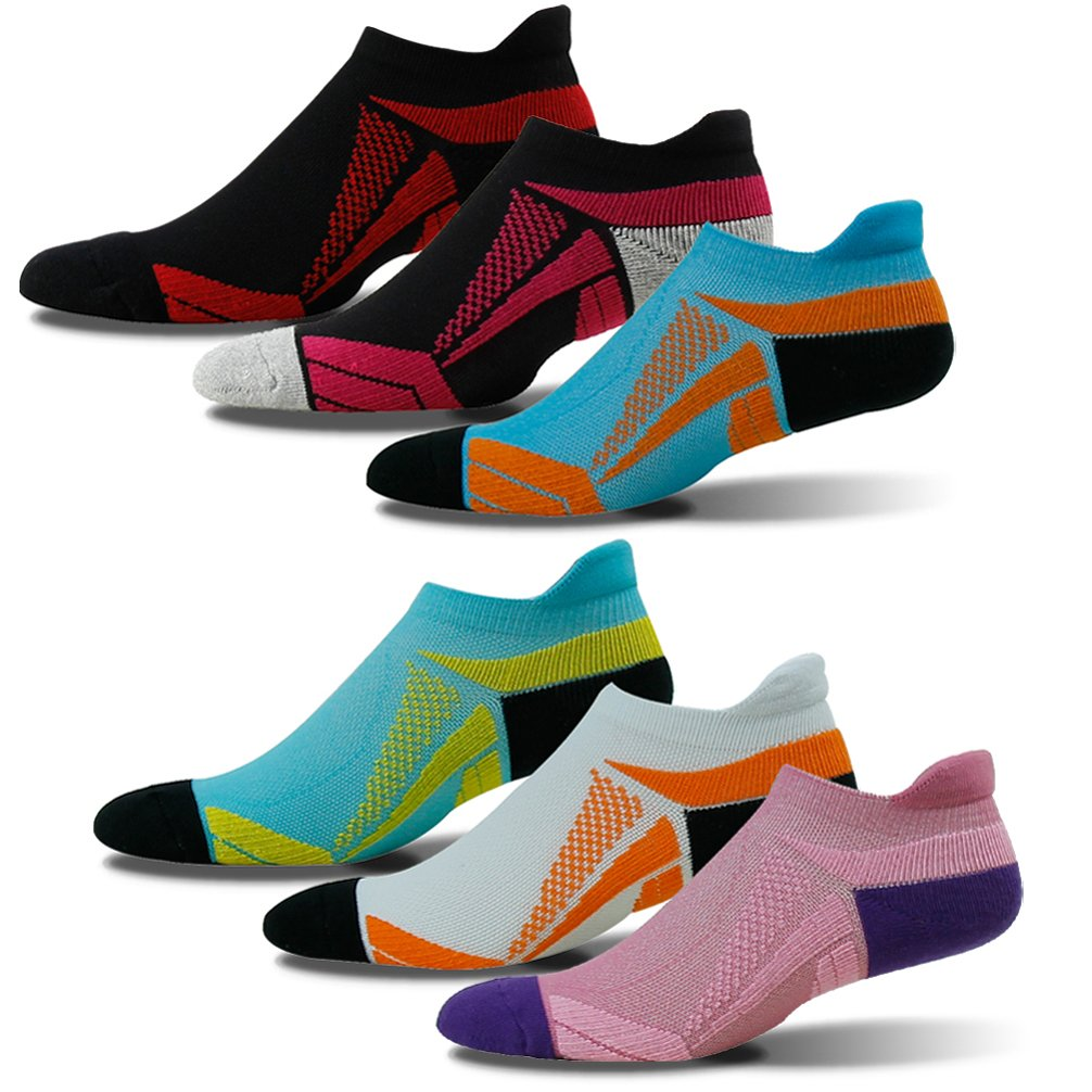 Compression Socks Women, HAPYCEO Men's Women's Heel Tab Ultralight Breathable Alleviate Swelling Compression Socks Best for Running Flight Travel Hiking Nurse, 3 Pairs, Turquoise&Orange