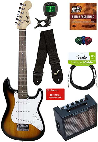 3a30ca19f5 Squier by Fender Mini Strat Electric Guitar - Brown Sunburst Bundle with  Amplifier, Instrument Cable