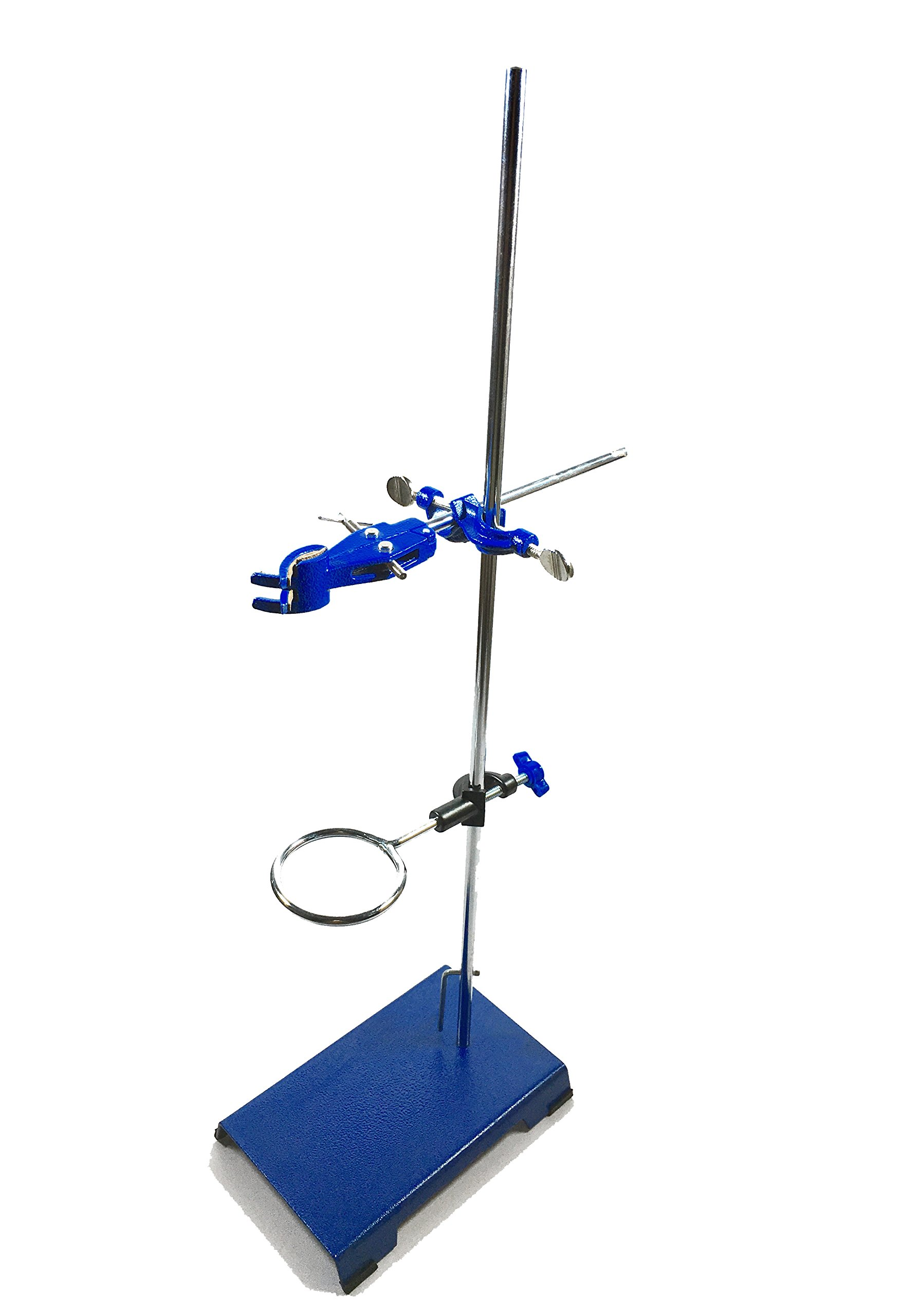Sciencent Support Stand Ring Stand 8'' x 5'' Coated Base Size - 24'' Corrosion Resistant Rod - Retort Ring (2.5'' Dia) and Cork Lined Burette Clamp with Boss Head Heavy Industrial Grade Retort Stand by SCIENCENT WITH DEVICE