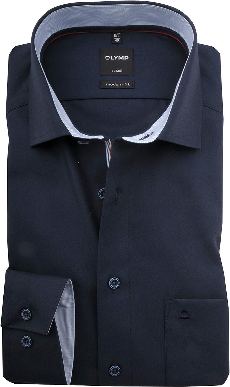 OLYMP Luxor modern fit Hemd extra Langer Arm Haifischkragen Nachtblau
