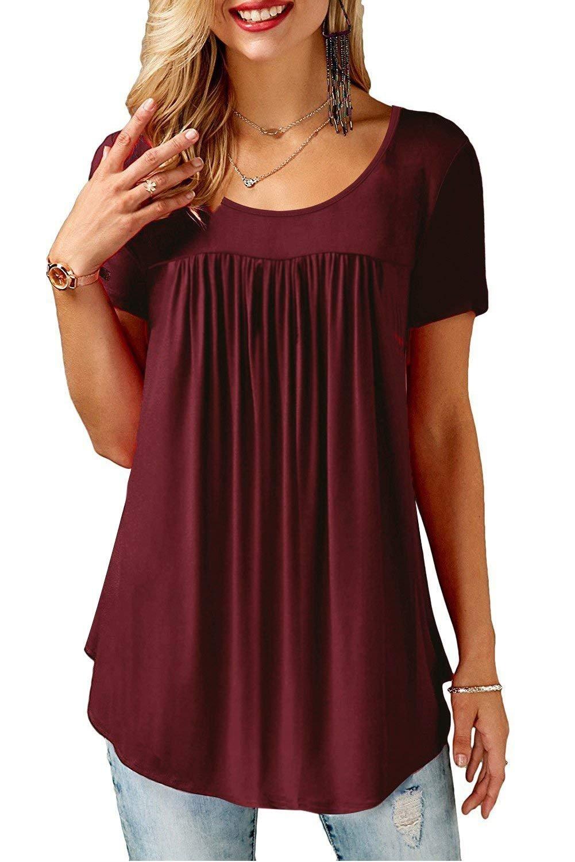 GOCHIC Women's Casual Pleat Short Sleeve T-Shirt Blouse Tunic Tops Wine Red S