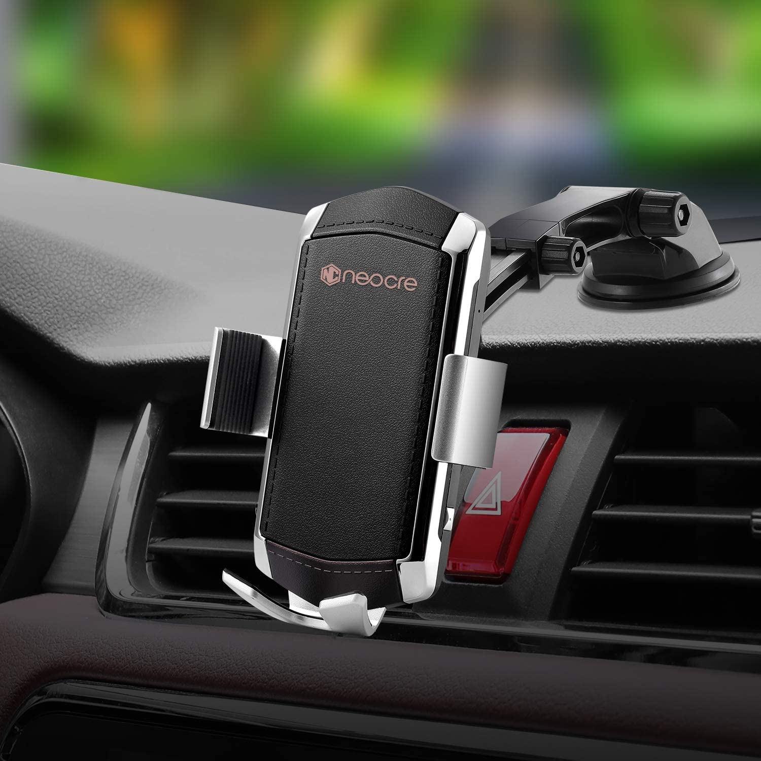 Wireless Car Charger Mount with QC 3.0 Car Adapter,10W Qi Fast Charging,Auto Clamping Windshield Dash Air Vent Touch Sensing Automatic Retractable Clip Holder Compatible with iPhone 11/11 Pro Max/XS/X
