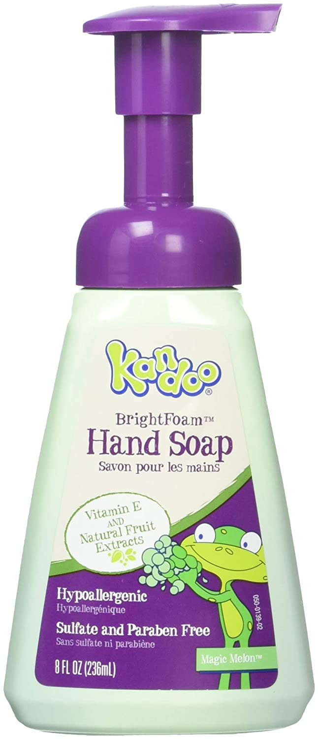 Kandoo BrightFoam Moisturizing Kids Foaming Hand Soap with Vitamin E, Magic Melon Scent, 8 Fl Oz (Pack of 4) Pampers