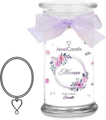 JewelCandle Maman tu ES la Plus Chouette Grande Jarre (1020g, 95-125heures  de Combustion) Blanc Bougie parfumée(Florale) avec Bijou en Argent Sterling  ...