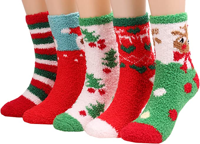 6 Pair Christmas Ladies Soft Fluffy Socks Warm Winter Cosy Lounge Bed Xmas Gifts