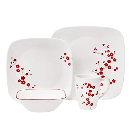 Service for 4 Red// Grey Corelle 16-Piece Vitrelle Glass Kyoto Leaves Chip and Break Resistant Dinner Set