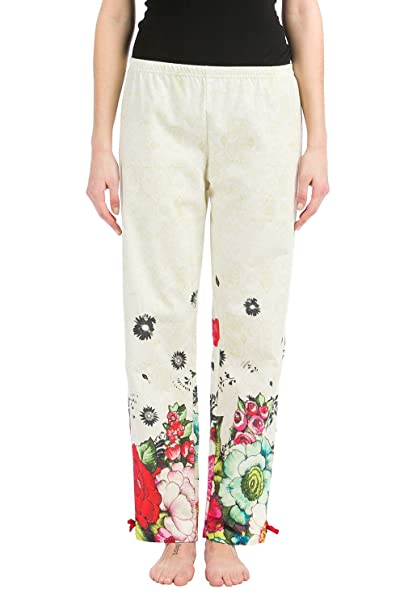 Desigual Trousers Lovely Garden - Pantalon de Mujer, 100% algodón, Estilo Anis Flower