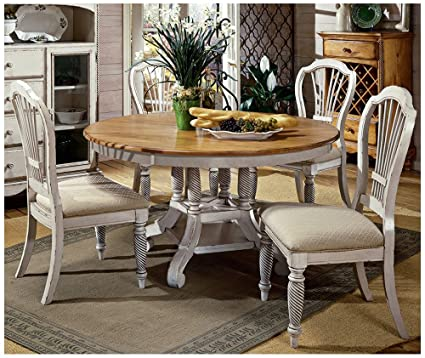 dining room tables antique white chalk paint hillsdale wilshire piece round dining table set in antique white amazoncom