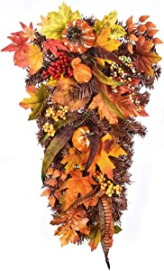 Dolicer Artificial Wall Swags with Pumpkin Pine Cone Berry and Maple Leaf Artificial Berry Swag for Front Door Decor Thanksgiving Day Home Indoor or Outdoor Decoration