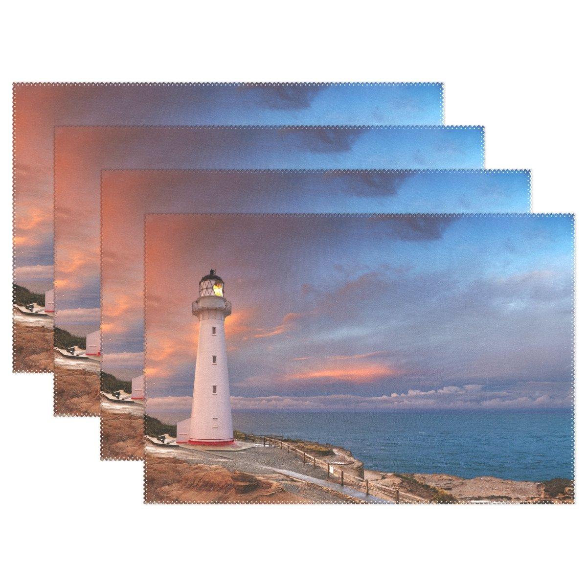 alirea城ポイント灯台ニュージーランド、プレースマット耐熱プレースマット汚れ防止滑り防止洗濯可能ポリエステルテーブルマット非スリップEasy Cleanプレースマット、12