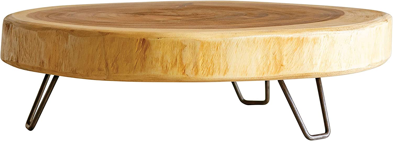 Creative Co-op Acacia Wood Pedestal with Hairpin Metal Feet, 21 inch, Brown