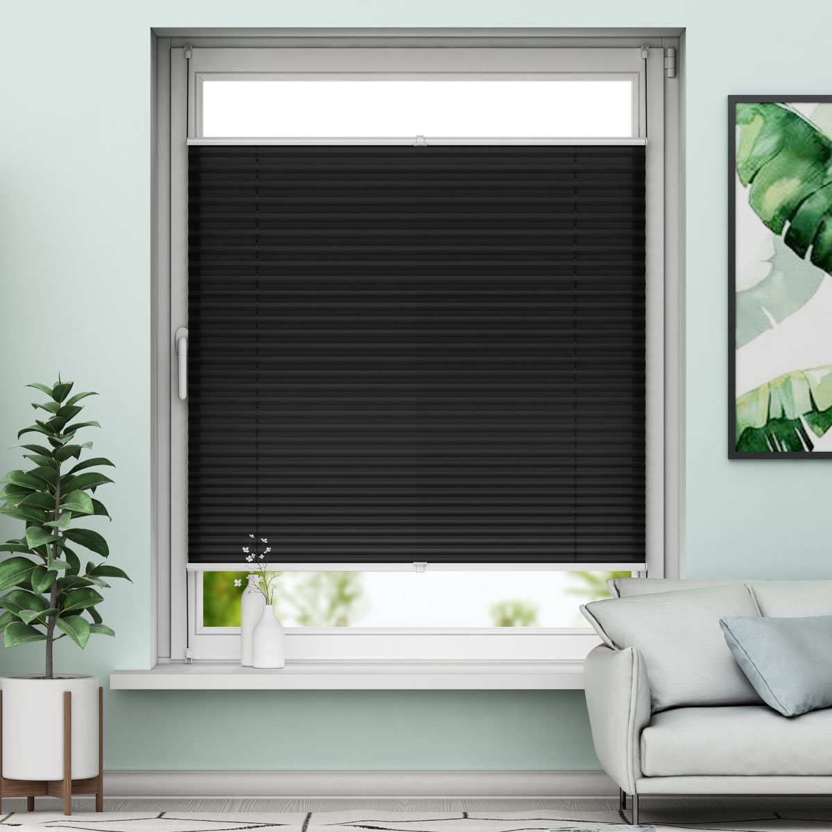 Store Plissé pour Fenêtre Rideau Plissésans perçage facile à poser Gris 40x100cm Sanfree
