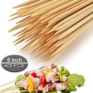"COOKEE Bamboo Skewers Premium Natural BBQ Skewers - Shish Kabob Grill Appetizer Fruit Corn Chocolate Fountain Cocktail More Food - 4""/6""/8""/10""/12"" Bamboo Skewers(6 inch 400Pcs)"