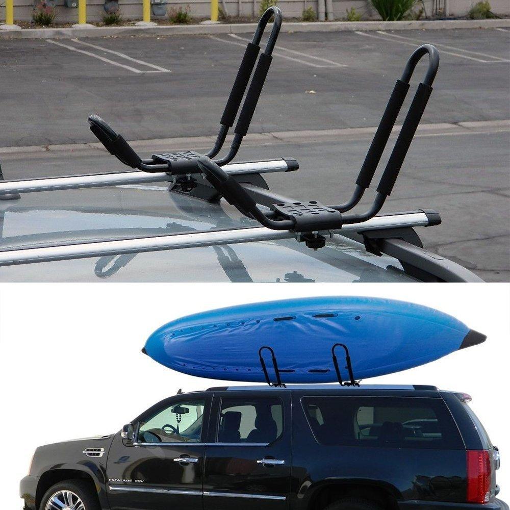 Egreaten Universal Kayak Rack Holder J Bar, 2 pairs-Bar HD Kayak Rack Carrier Canoe Boat Surf Ski Roof Top Mount Car SUV Crossbar