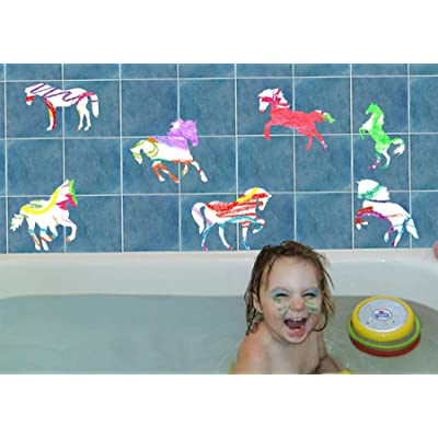 Bath Crayons for Kids with Horse Vinyl Decals - 6 Colors Easy Cleanup: Toys & Games
