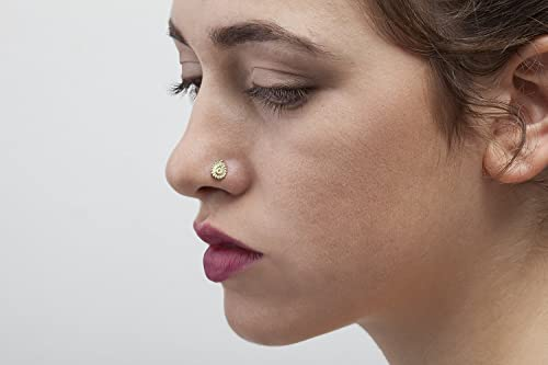 Amazon Com Indian Nose Stud Large Gold 14k Handmade Nostril