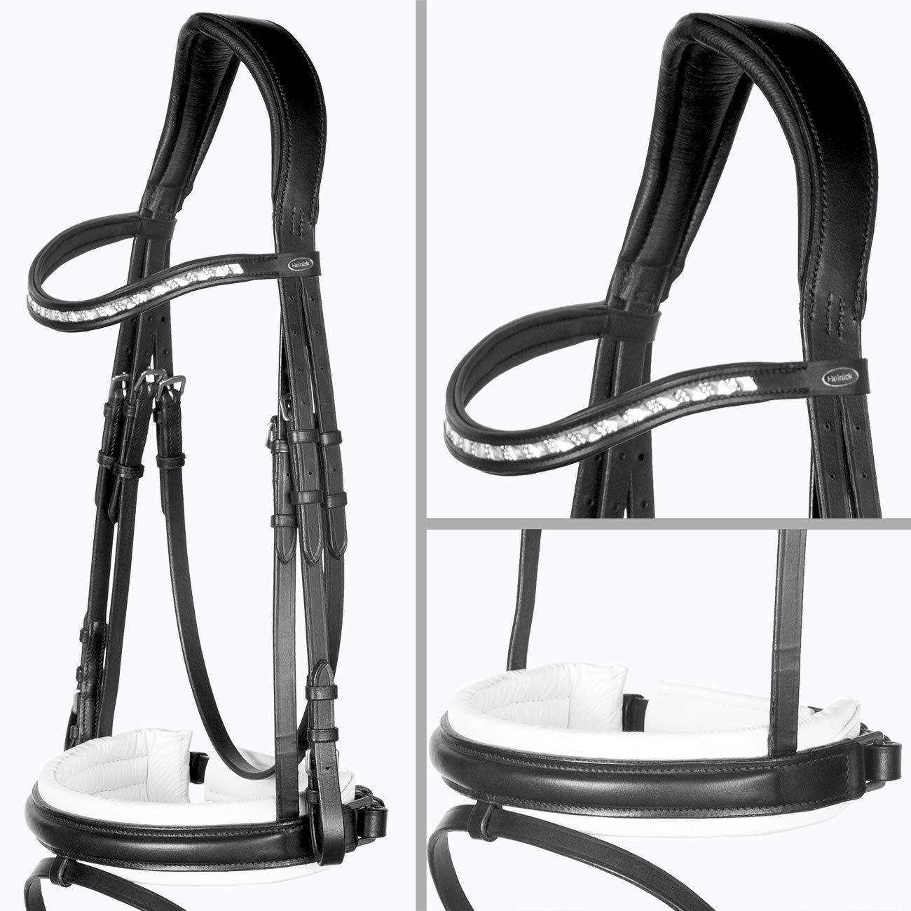 Warmbluet   Full Heinick Equestrian Fine Zarin Black and White   Motion Snaffle Bridle Extra-Wide RH Warmblood Horses