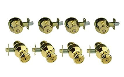 NUSet Contractor Combo Lockset, 4 Sets of Keyed Entry Door Lock with ...