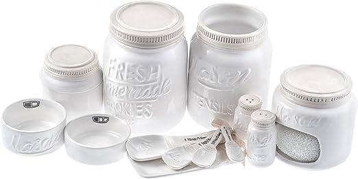 Paula Dean White Ceramic Mason Jar Salt /& Pepper Shaker Set