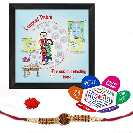 Indi ts Longest Rakhi Quote Printed Blue Gift Set Poster Frame 6X6 Inches Crystal Rakhi Roli Chawal & Greeting Card For Men Boys