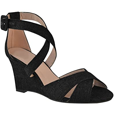 785ce6ee030d Fashion Thirsty Womens Ladies Low Heel Wedge Strappy Summer Sandals Open Toe  Buckle Comfort Size