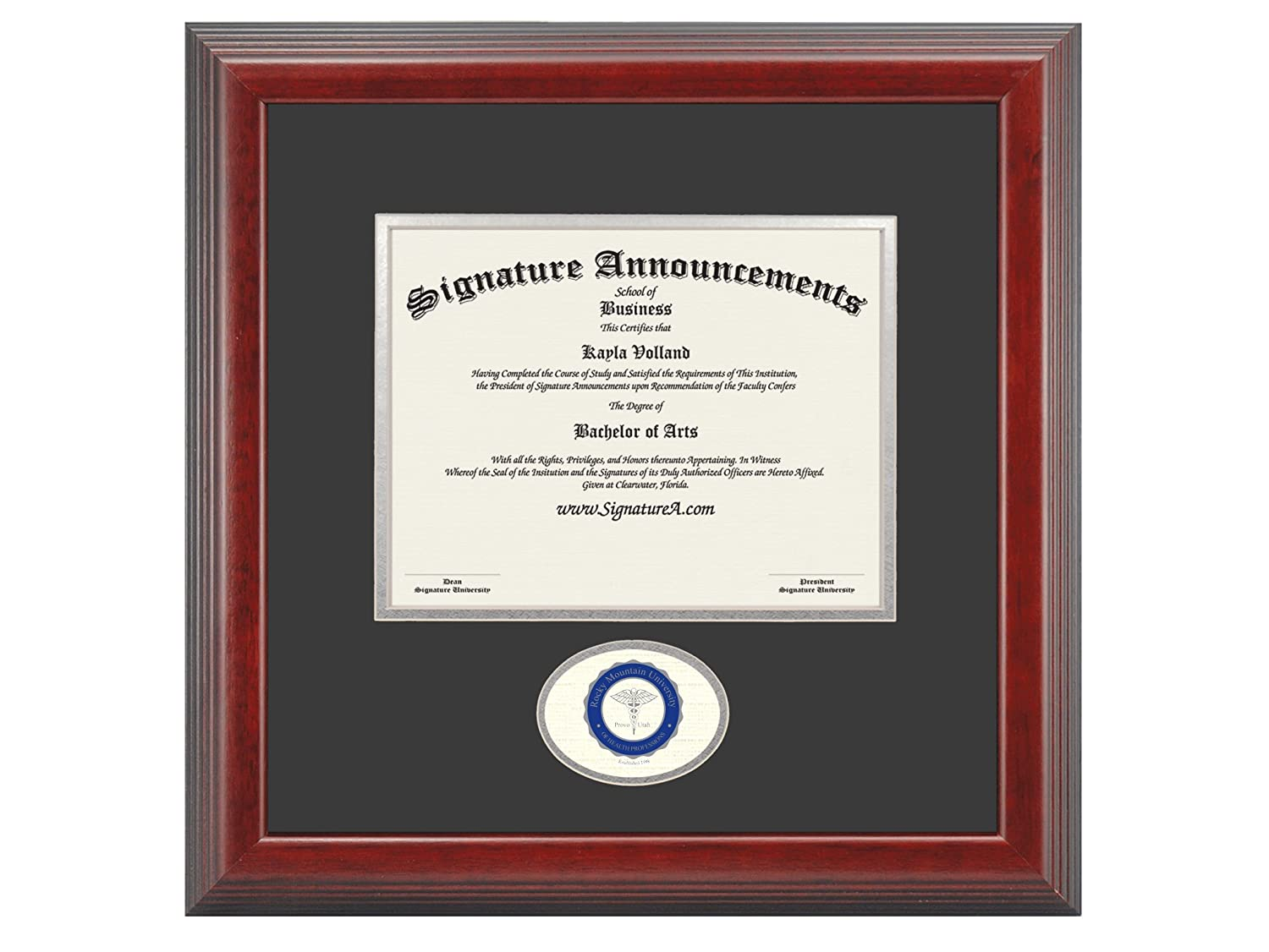 Signature AnnouncementsRocky-Mountain-University-of-Health-Professions Doctoral Sculpted Foil Seal Graduation Diploma Frame 16 x 16 Cherry