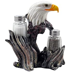 Bald Eagle Glass Salt & Pepper Shakers with Decorative Figurine Display Stand Set for American Patriotic Bar and Kitchen Decor Sculptures or Rustic Lodge Restaurant Tabletop Decorations and Wildlife Bird Gifts by Home-n-Gifts