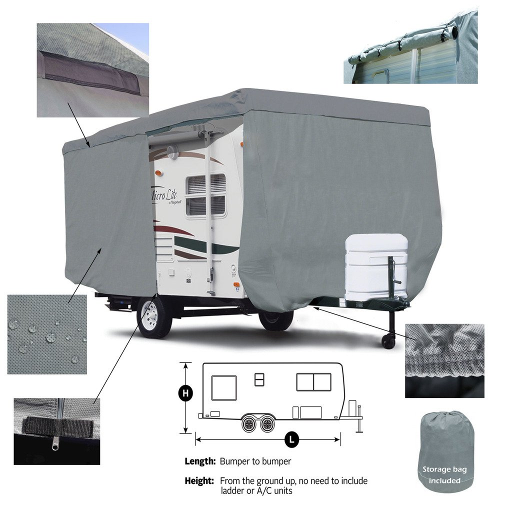 SavvyCraft Deluxe Travel Trailer Camper Cover w/Access Panels Fits 16'-17'L by SavvyCraft