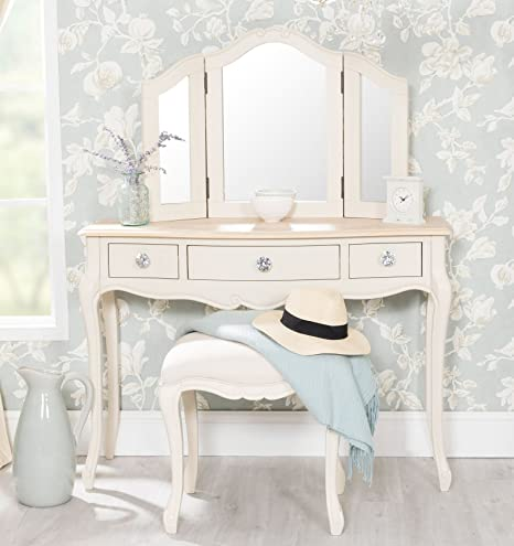 Juliette Champagne dressing table set with crystal handles, 3-Way ...