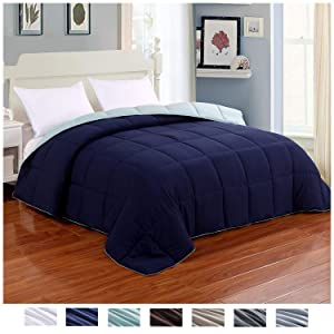 Homelike Moment Reversible Lightweight Comforter - All Season Down Alternative Comforter King Summer Duvet Insert Blue Quilted Bed Comforters with Corner Tabs King Size Navy/Light Blue