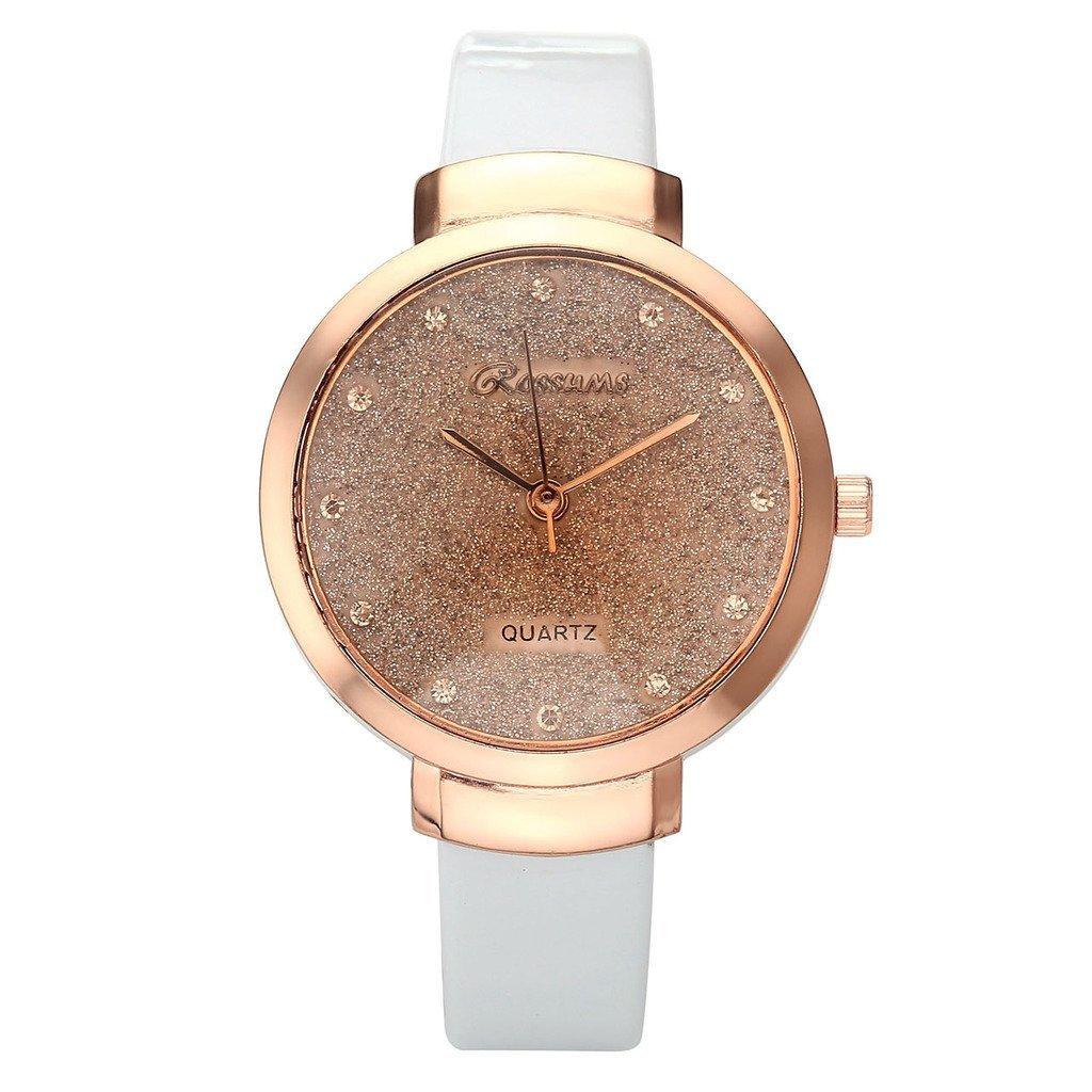 JSDDE Uhren,Elegante Damen Armbanduhr Braunglas Glitzer Dial XS Slim PU Leder-Band Ladies Dress Analog Quarzuhr,Weiss
