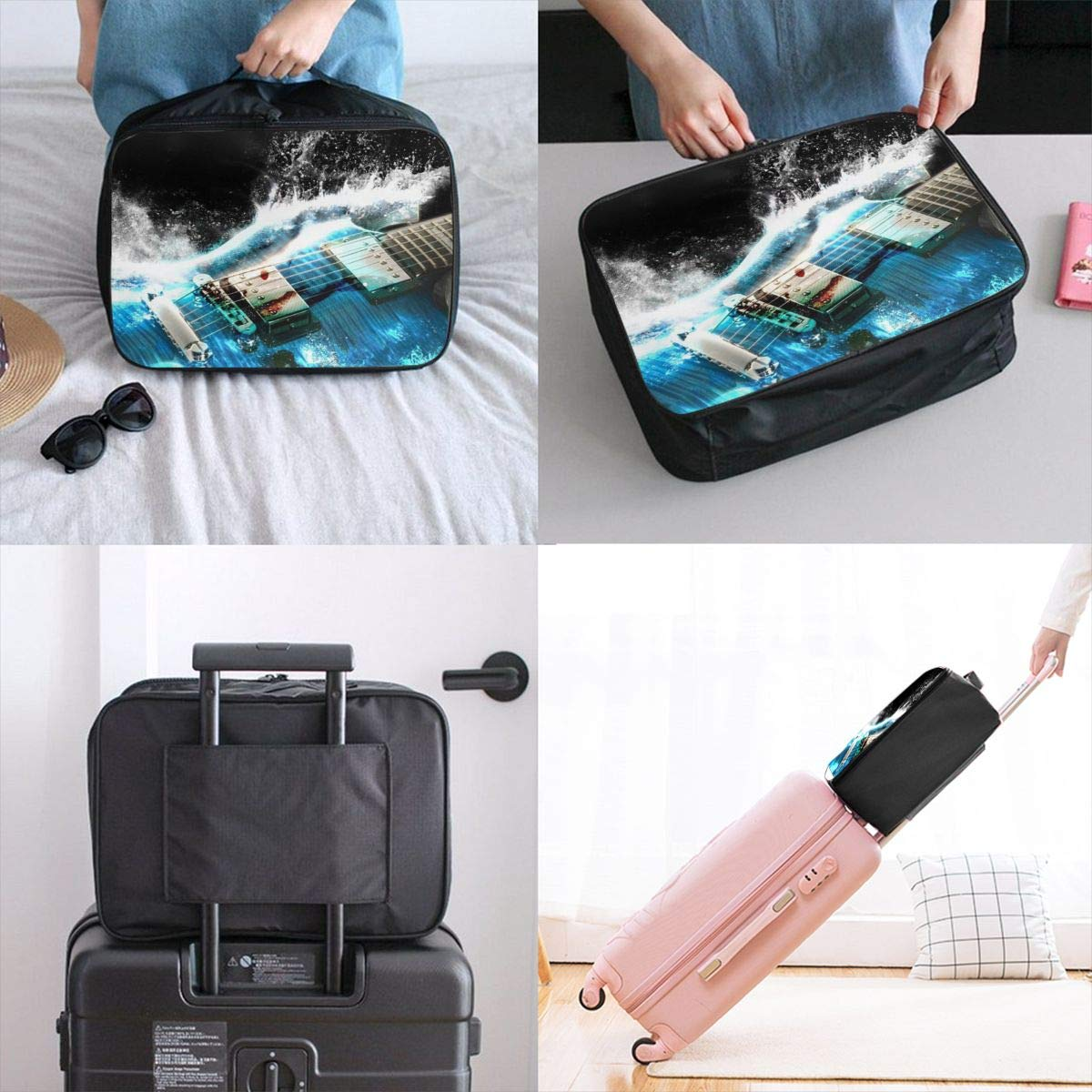 Guitar Ice Navy Blue Travel Lightweight Waterproof Folding Storage Portable Luggage Duffle Tote Bag Large Capacity In Trolley Handle Bags 6x11x15 Inch