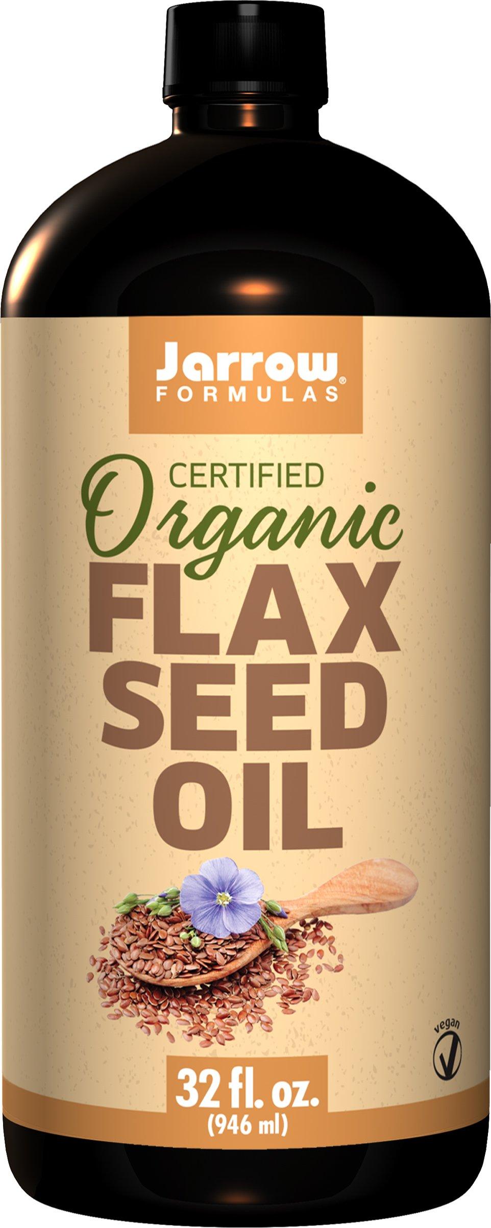 Jarrow Formulas Certified Organic Flax Seed Oil 32 Fl ounces. Pack of 8 Bottles.