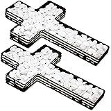 HAC24 2 Stück Dekokreuz Pflanzschale Pflanzkreuz Kreuz Gitter Grabdeko Blumenschale