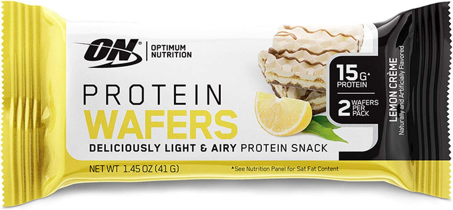 Optimum Nutrition On 554 Protein Wafers Snacks Lemon Travel To Go 9 Count 435 Gram Amazon Ca Health Personal Care
