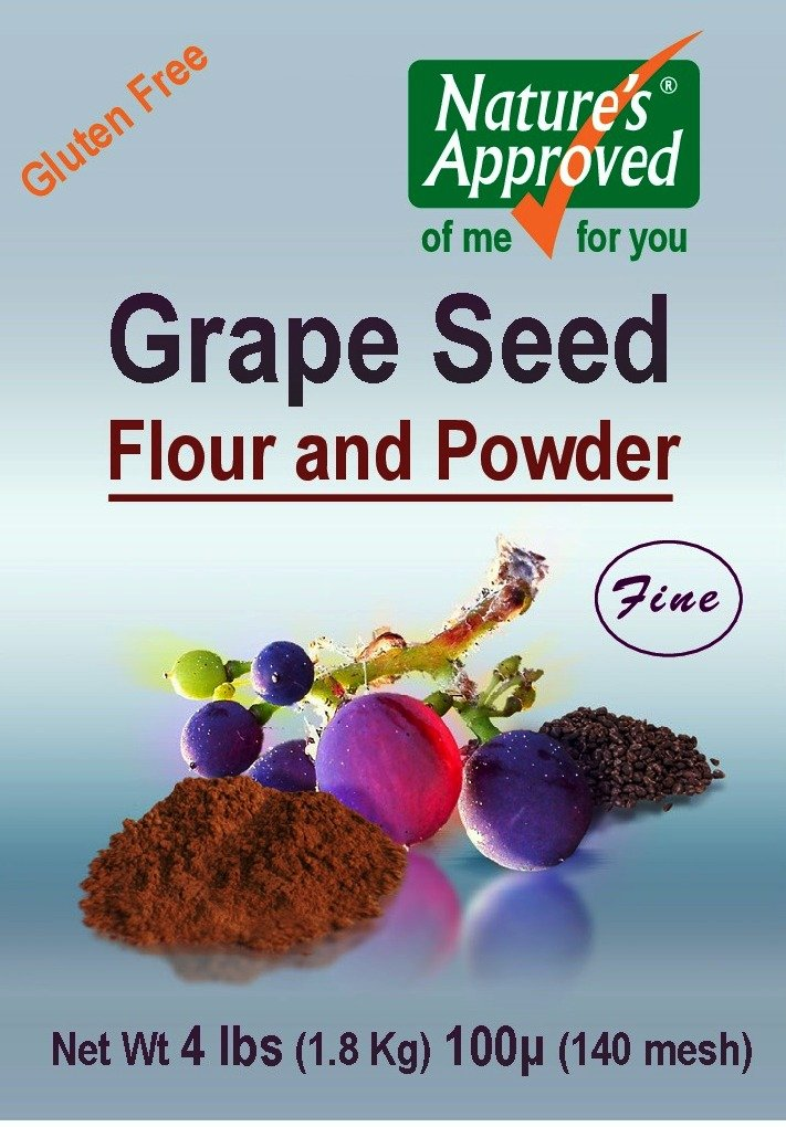 Gluten Free All Natural Grape Seed Flour 200 micron (4lb Pail) - It Is Truly a Super Superfood!! Loaded with Antioxidants!!! 70 Times Stronger Than Blueberries! FREE Recipe Book.