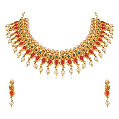 4d1697f6bcfd23 Buy Apara Traditional Gold Plated Mango Design Pearl Choker Necklace Set  Jewellery for Women Online at Low Prices in India | Amazon Jewellery Store  ...